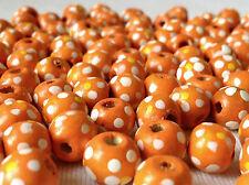 100 Couleur Orange Rond Fleur Bois Perles 10 mm = W 0092