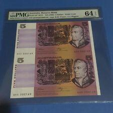 1990 Australia $5 P-44f Fraser & Higgins Uncut Sheet of 2 PMG 64 EPQ
