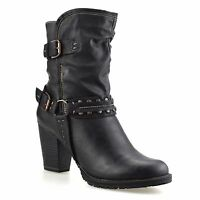 Ladies Womens Mid Block Heel Buckle Zip Up Ankle Cowboy Biker Boots Shoes Size