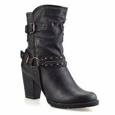 Ladies Womens Mid Block Heel Buckle Zip Up Ankle Cowboy Biker Boots Shoes Size