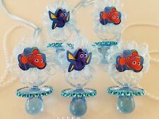 Nemo & Dory 12 Blue Pacifier Necklaces Baby Shower Game Under The Sea Boy Favors