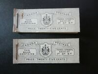 """CANADA STAMPS  #BK43-44  MINT 1950-1 """"KGVI POSTAGE ISSUE BOOKLETS"""""""