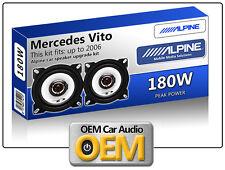"Mercedes Vito altavoces frontales Dash Kit de altavoz de coche Alpine 10cm 4"" 180W Max"