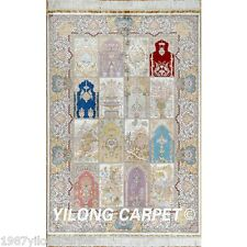 Yilong 4'x6' Persian Silk Rugs Hand made Carpets Contemporary Hand-knotted 0685