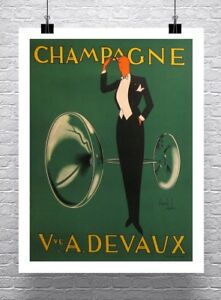 Champagne Devaux Vintage Liquor Advertising Poster Rolled Canvas Giclee 24x30 in