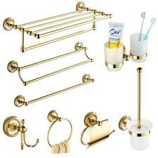 Antique Gold Brass Polished Bathroom Hardware Set Crystal Bathroom Accessories