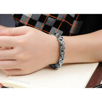New Heavy Silver Tone Stainless Steel Curb Chain Men's Casual Bracelet Bangle