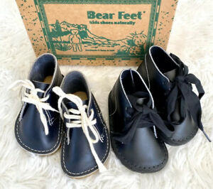 2 pairs Bear Feet 100% Leather Lace Up Baby Shoes Navy Blue & Black Size 4