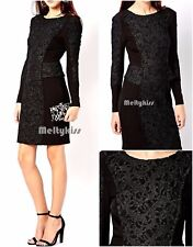NWT RIVER ISLAND LONG SLEEVE LACE PANEL BODY CONSCIOUS DRESS Sz-US 6 $198