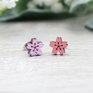 Cherry Blossom Earrings - Hand Painted Wooden Studs - Sakura Flower Jewellery