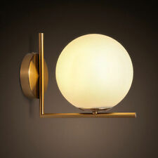 Contemporary LED White Glass Globe Ball Indoor Wall Lights Brass Sconces Bedroom