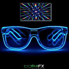 Blue LED Glow Diffraction Glasses Eyewear light up shutter rave EL wire neon