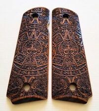 1911 full size custom engraved walnut wood grips Aztec Calendar