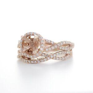 14K ROSE GOLD DIAMOND TWISTED BAND SEMI-MOUNT BRIDAL SET RING 5US
