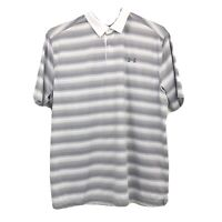 Under Armour Golf Polo Mens Size XL Extra Large Loose White Gray Striped Heatgea