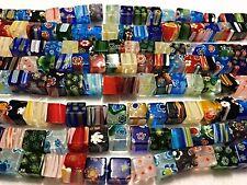 Millefiori Glass Cubes, 10x10mm and 40 per Strand