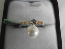 Stainless steel simulated pearl ring UK size L.