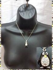 Black Silver Penguin Bird Aquatic Animal Love Pendant Chain Necklace Crystal