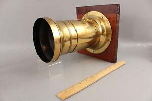Large RARE Antique 1858 CC Harrison Brass Orthoscope Daguerreotype Camera Lens