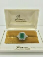 MAGNIFICENT 2.24 CT NATURAL PRINCESS COLOMBIAN EMERALD RING HALO ENGAGEMENT 925