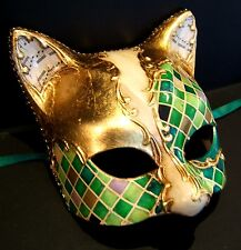 CAT 1 HANDMADE IN ITALY ANIMAL, MASQUERADE, PAPIER MACHE, PARTY MASK GREEN/GOLD