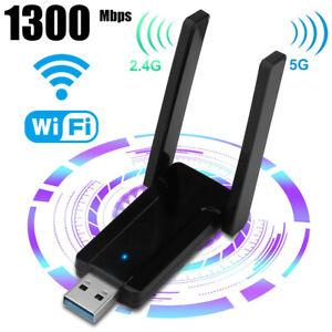 1300Mbps 2.4G/5G Dual Band USB 3.0 WiFi Adapter w/Antenna for Desktop/Mac/Laptop