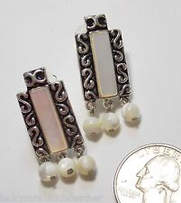 Clip Earrings, Antiqued ST Swirl w/White MOP Panel & 3 Dangle MOP Beads, NEW