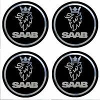 4 adhésifs stickers SAAB noir chrome 40 à 100 MM pour centre de jantes