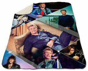 "Jon Bon Jovi Blanket Winter Queen Size 60"" x 80"" Collage Sherpa Fleece Christmas"