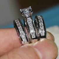 Womens 925 Silver Rings Band White Sapphire Wedding Ring Size 6-10 Jewelry Gift
