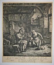 JAN DE VISSCHER Le Devideur et la Fileuse GRAVURE Van Ostade Jan Cralinge 1670