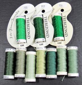 10x Needlepoint/Embroidery THREAD ACCESS COMMODITIES Trebizond silk-greens-NH21