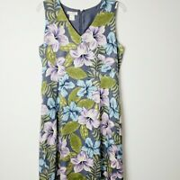 Tommy Bahama Size 12 Floral Silk Wool Blend Sheath Dress