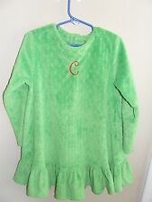 "Patsy Aiken 6X Minky Dot Dress Monogram ""C"" Green Christmas Swing Top Ruffles"