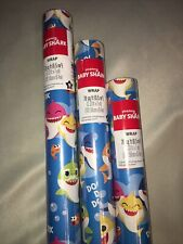 New Listing3x Ping Fong Baby Shark Wrapping Paper Gift Wrap 70 Sq Ft Large Roll ~ New