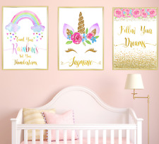 Unicorn Personalised Name Nursery Prints Pictures Set Of 3 Baby Girl Room Decor