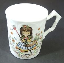 Aynsley Fine English Bone China Girl In Garden Textured Coffee Tea Cup Mug EUC
