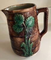 """Vintage Majolica Glazed Pottery Pitcher, Leaf & Barrel Motif, 6 1/4"""" High"""