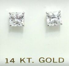 1.78 Cts WHITE SAPPHIRE Princess Cut 14k White Gold Earrings *** SCREW BACKS ***