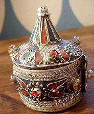 Moroccan  large pointed  tarnished blue and red enamel bracelet box cuff