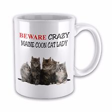 Beware Crazy MAINE COON CAT LADY Funny Novelty Gift Mug