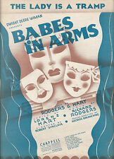 """Rodgers & Hart """"BABES IN ARMS"""" Alfred Drake """"Lady Is a Tramp"""" 1937 Sheet Music"""