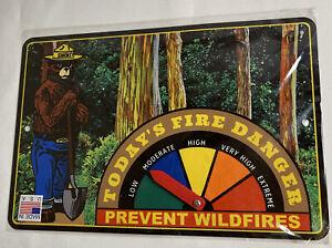 "SMOKEY THE BEAR FIRE DANGER SIGN RAINBOW EUCALYPTUS FOREST MAUI HI USA 12""x8"""