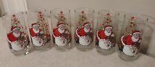 VINTAGE Coca Cola Classic Santa Claus Christmas Glass McCrory SET OF 6 Glasses