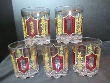 "Cerve De Valbar Italy 5 Old Fashioned Tumblers 3 1/2"" Tall Red & Gold"
