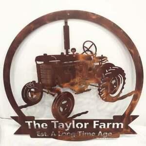 "Metal Tractor Sign Custom Last Name Plasma Cut Sign Art 24"" Wide Farm Farmhouse"