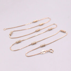 """GUARANTEED Pure 18Kt Rose Gold Lucky Beads Box Chain Necklace 17.5""""L 3.5-3.8g"""