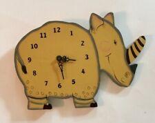 Rare! Vintage Wooden Happy Rhino Wall Hanging Clock Nursery Child'S Room Vgc!