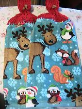 REINDEER~PENGUIN~FOX~2 CHRISTMAS crochet top snowman buttons kitchn bath towels