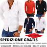 Camicia uomo maniche lunghe slim fit casual cotone elastico manica lunga stretta
